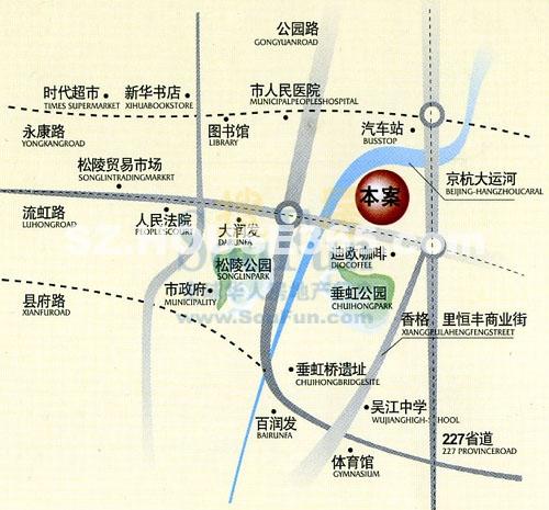 吴江中央花园交通图