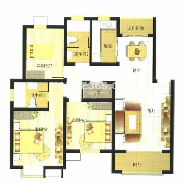 御亭水岸D13室2厅2卫1厨118.20㎡