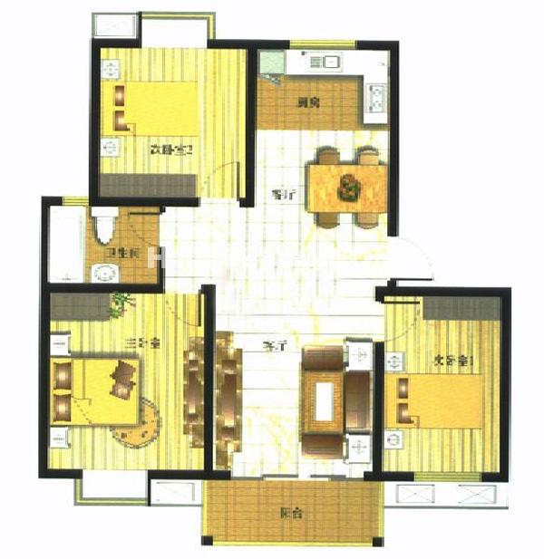 御亭水岸B13室2厅1卫1厨97.90㎡