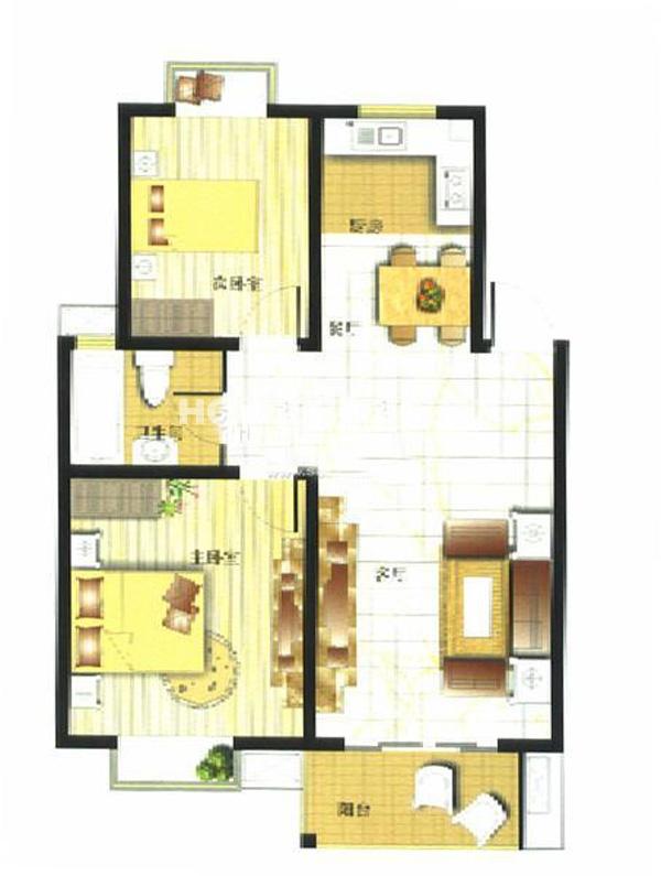 御亭水岸A12室2厅1卫1厨80.10㎡