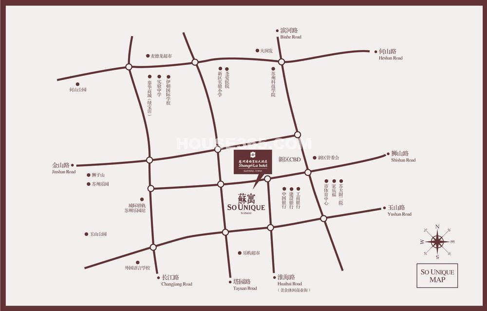 新地国际公寓交通图