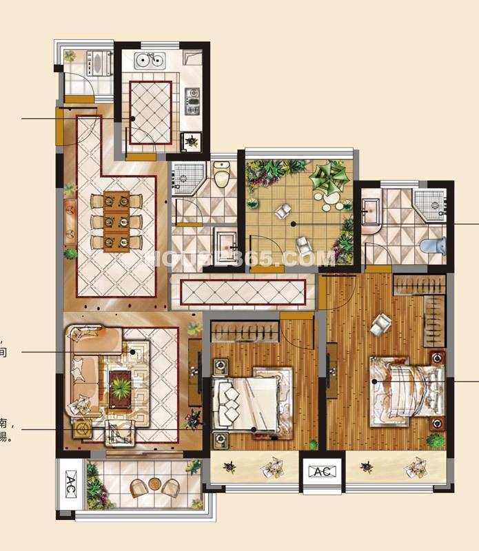 青剑湖公馆C3户型2室2厅1卫108平