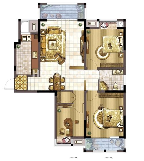 中天和景苑三室两厅一厨一卫117平米