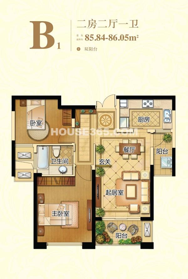 新港天城B1户型两房两厅一卫  85.84-86.05平米左右