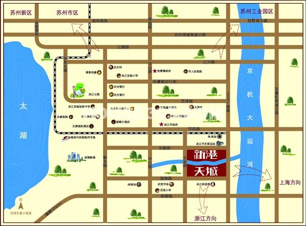 苏高新地产天城花园交通图