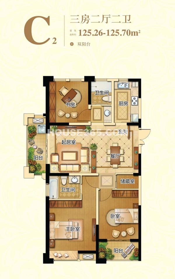 新港天城C2户型三房两厅两卫  125.26-125.70平米左右