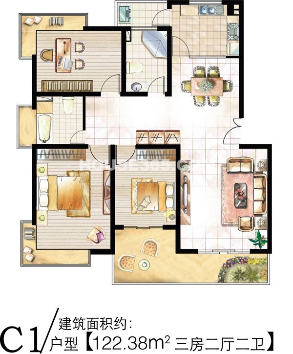 C1户型 122.38m2 三房二厅二卫