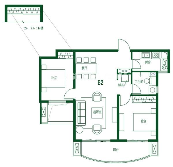 首开班芙春天高层B2户型2室2厅1卫1厨约96.00㎡