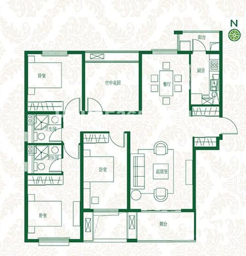 首开班芙春天高层A1∕A3户型3室2厅1卫1厨约141.00㎡