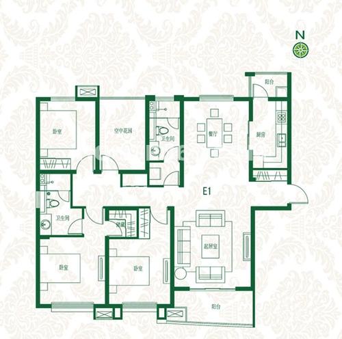 首开班芙春天高层E1户型3室2厅2卫1厨约164.00㎡