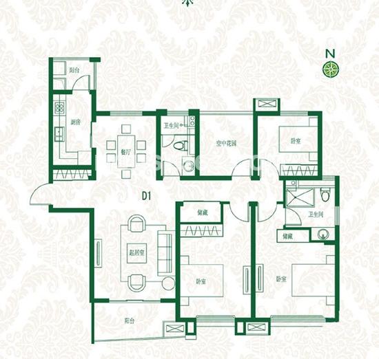 首开班芙春天高层D1户型3室2厅1卫1厨约147.00㎡
