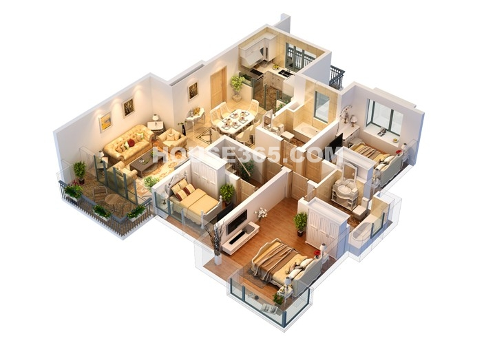 B2户型复式(1层) 4房2厅3卫