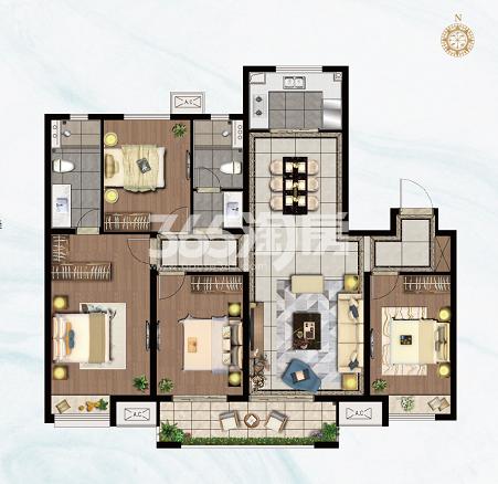 雲珑府143㎡四室B3户型图