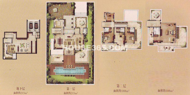 TOP未来独栋别墅A户型4室3厅5卫1厨 512.00㎡