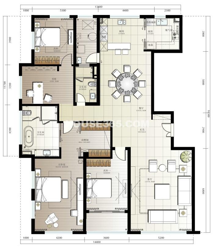 1、2#H户型4室2厅2卫