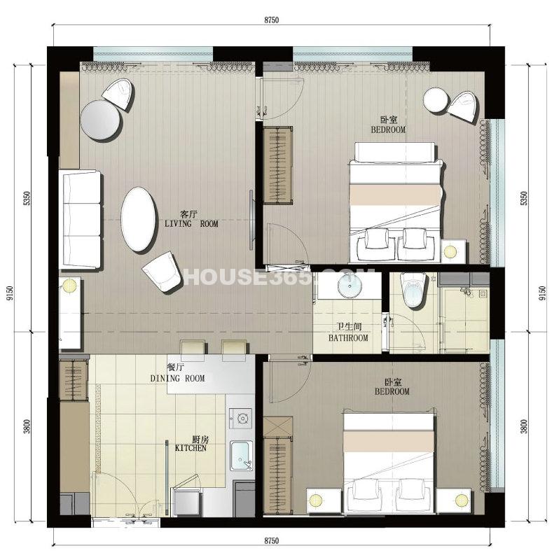3#A户型2室1厅1卫