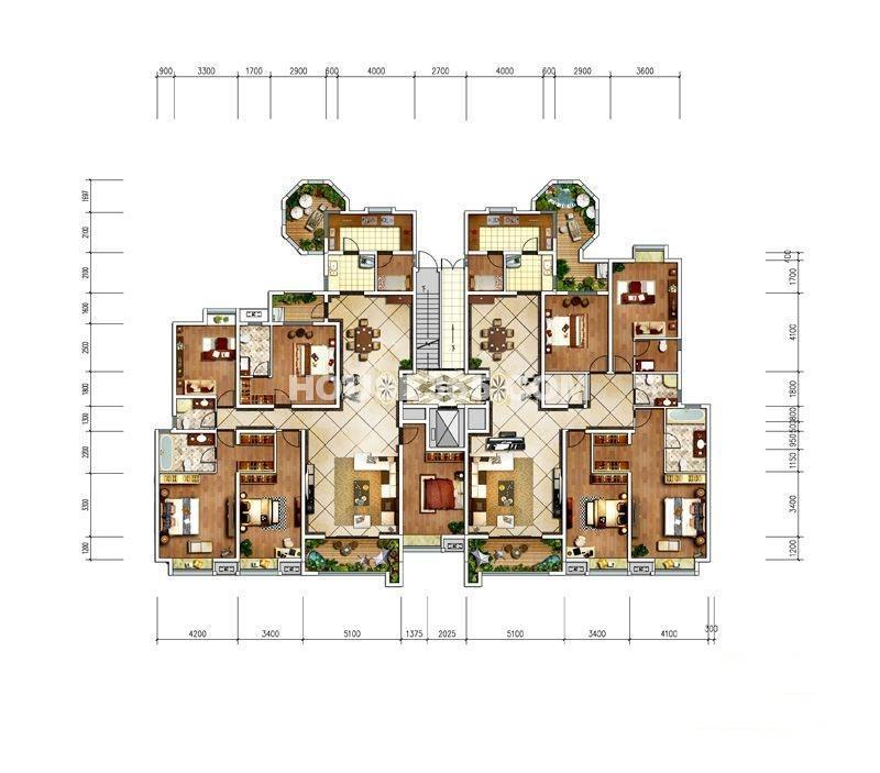 中冶一曲江山212平、225平平层户型图5室2厅3卫1厨 212.00㎡