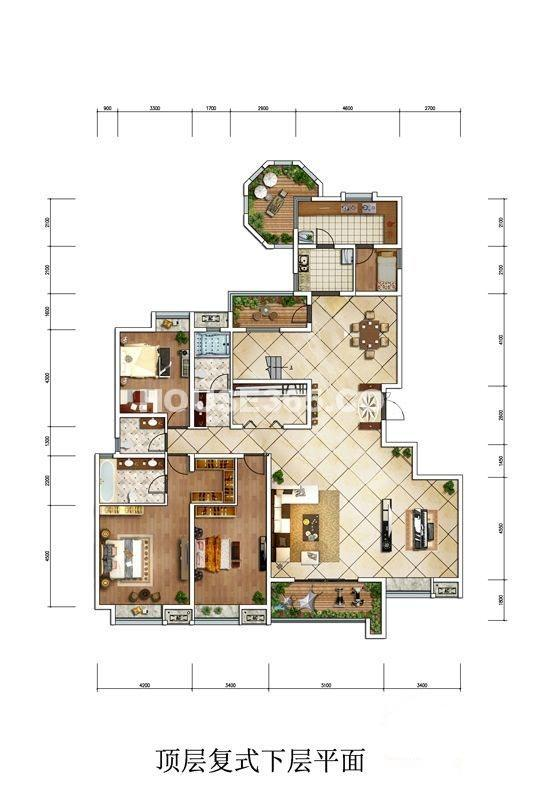 中冶一曲江山复式下层平面左单元户型5室2厅2卫1厨 341.00㎡