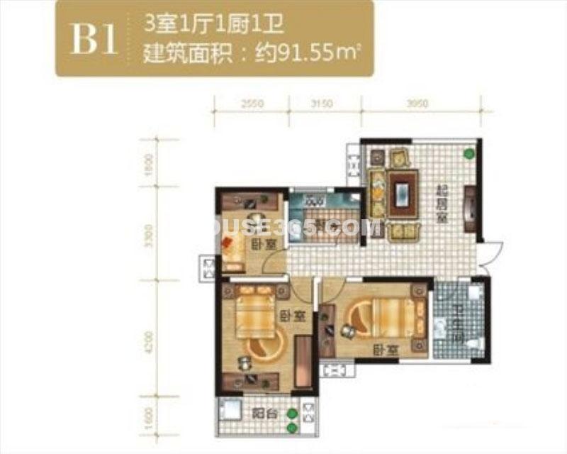 紫云溪B1户型3室1厅1卫1厨 91.55㎡