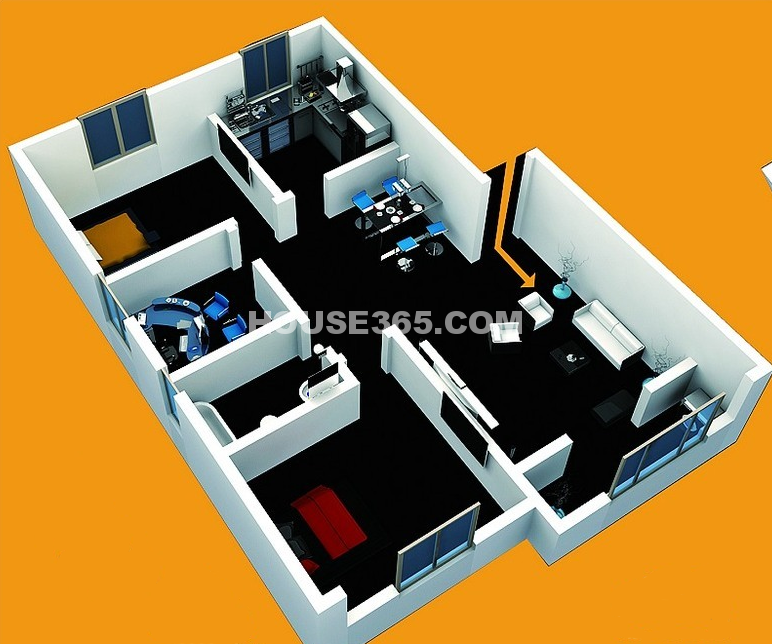 北美公馆C2户型3室2厅1卫