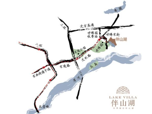 伴山湖交通图