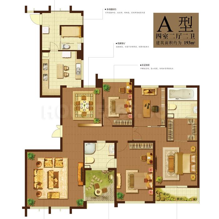 天安曼哈顿A户型4室2厅2卫