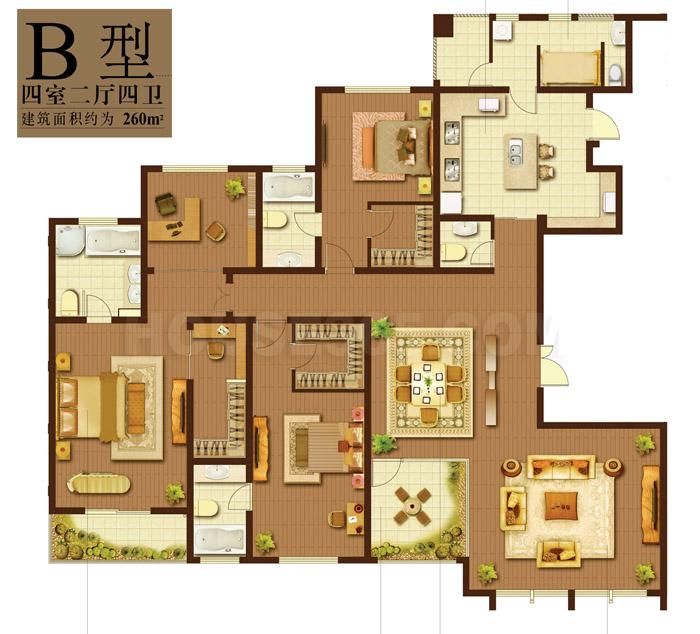 天安曼哈顿B户型4室2厅4卫