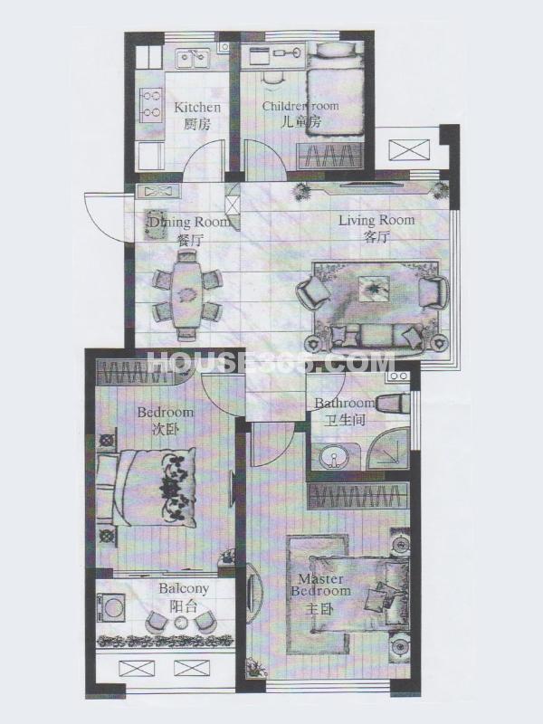 22#楼 甲单元01室 3室2厅1卫