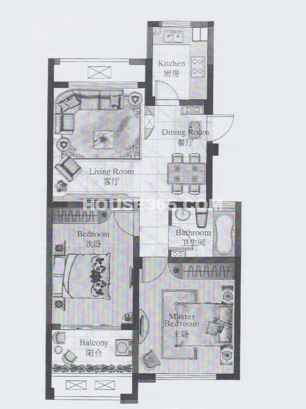 22#楼 甲单元04室 2室2厅1卫
