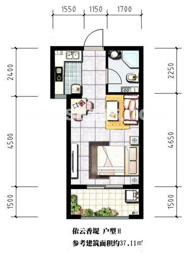 泰盈八千里二期h户型,一房一厅一厨一卫,约37.11平米