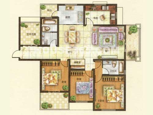 P户型,4房2厅2卫,建筑面积约156.21㎡
