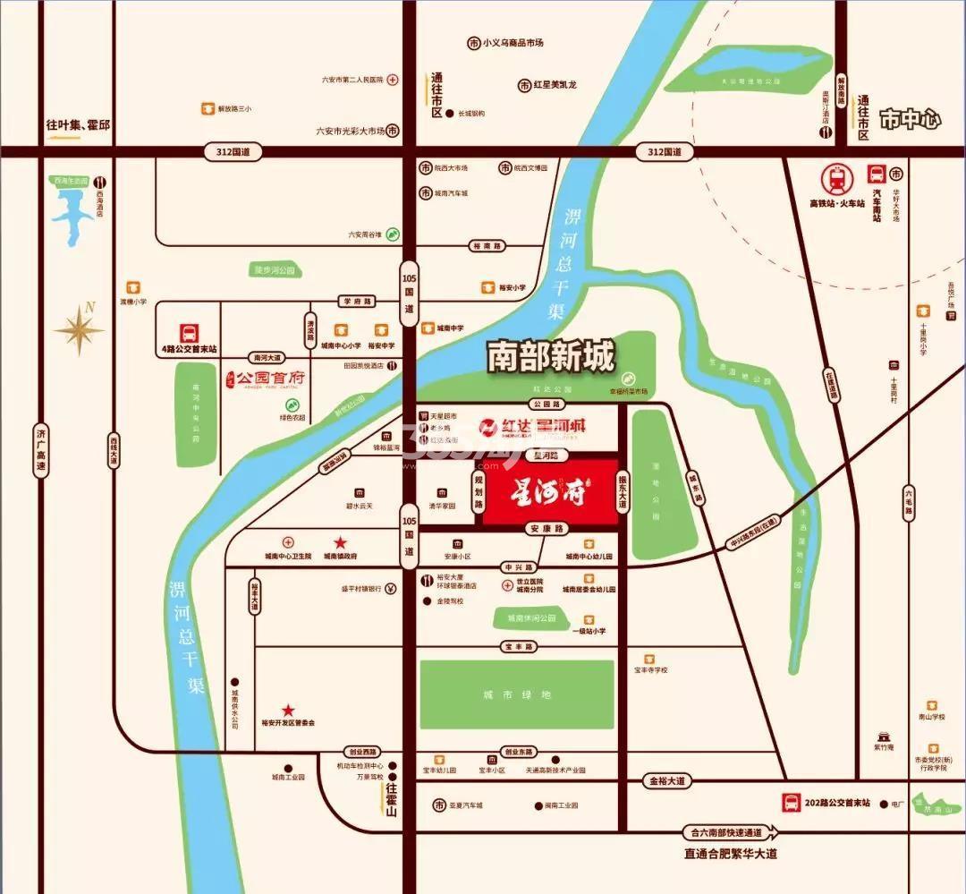 红达星河府交通图