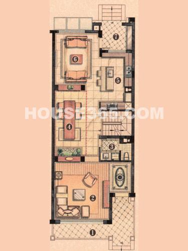 温莎郡别墅,新现代欧式户型,一层平面图,建筑面积86.595㎡