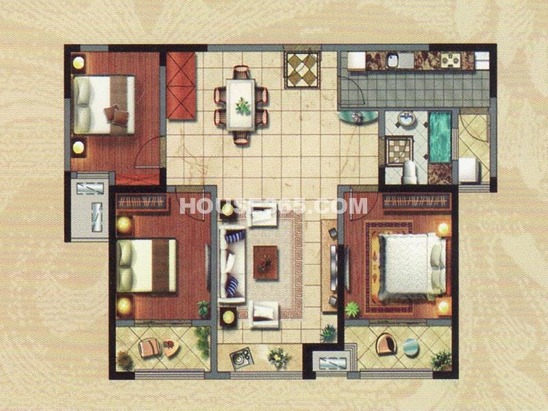 1#楼B户型-三房两厅一卫