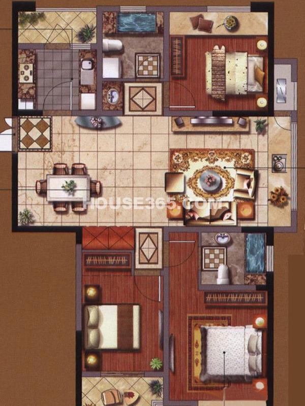 2#楼A户型-三房两厅一厨两卫