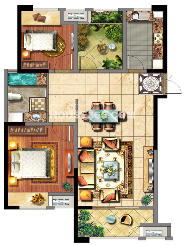 2#楼D户型两室两厅