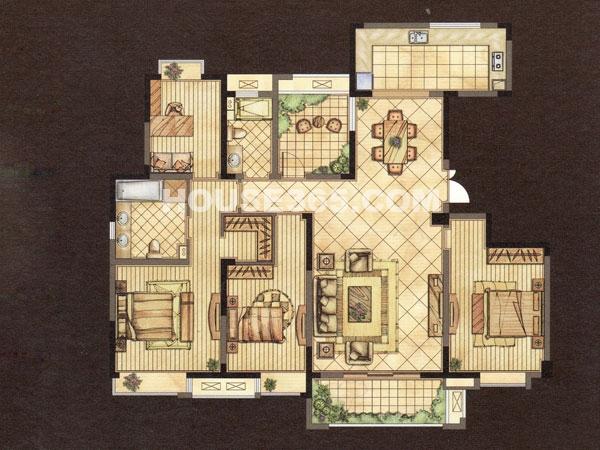 世茂香槟湖2期金色酩悦A户型-四房两厅两卫-建筑面积约175.05㎡