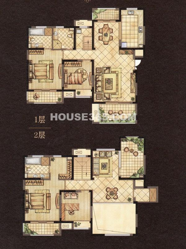 世茂香槟湖2期金色酩悦E户型-空中别墅-建筑面积约233.06㎡