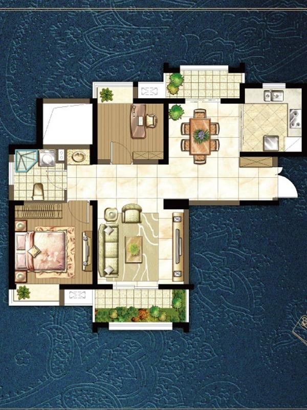 m户型两室两厅