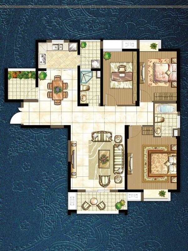 k户型三室两厅