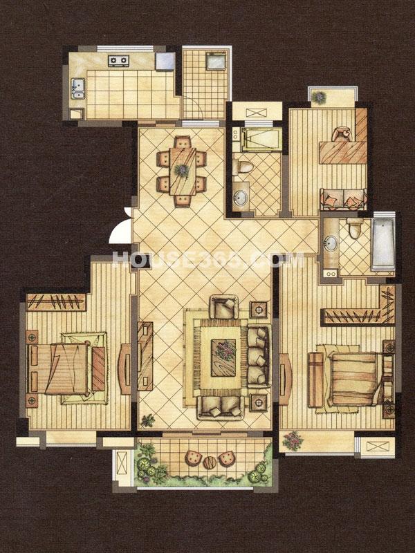 世茂香槟湖2期金色酩悦B户型-三房两厅两卫-建筑面积约138.11㎡