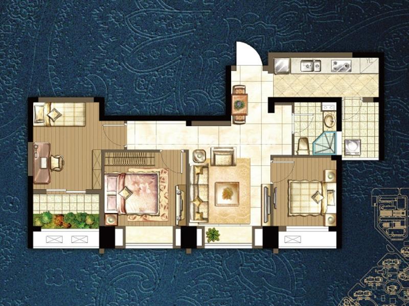 i户型三室两厅