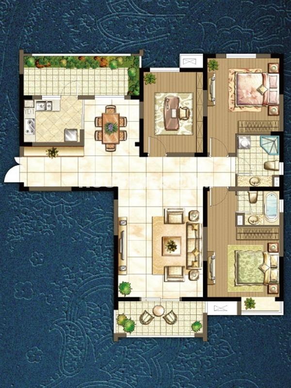 p户型三室两厅
