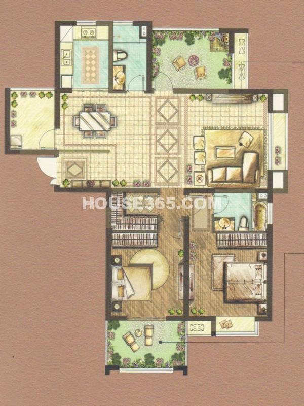 A户型-两室两厅一厨两卫