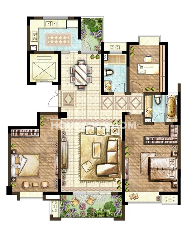 D户型-三室两厅一厨两卫
