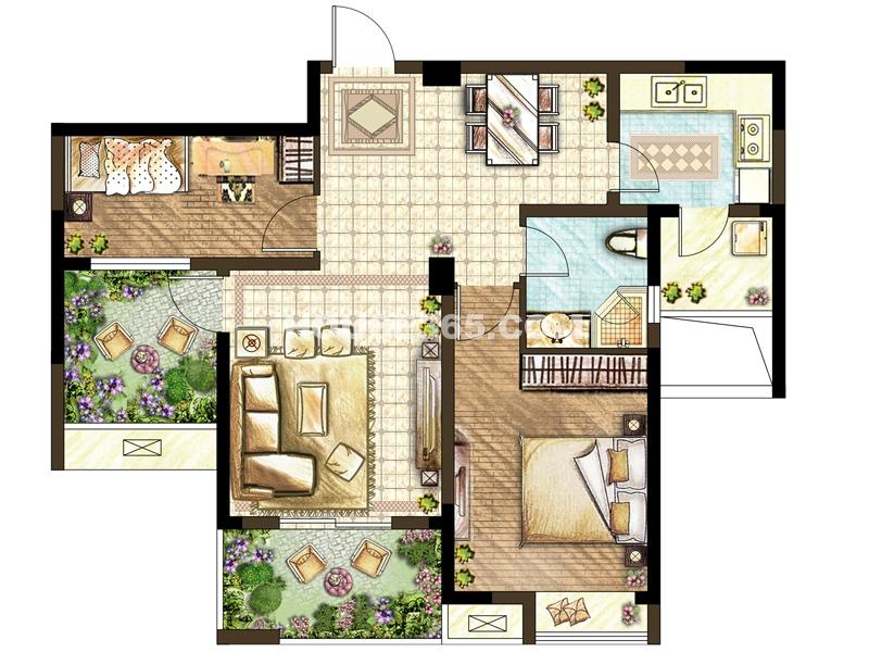 F户型-两室两厅一厨一卫+空中花园