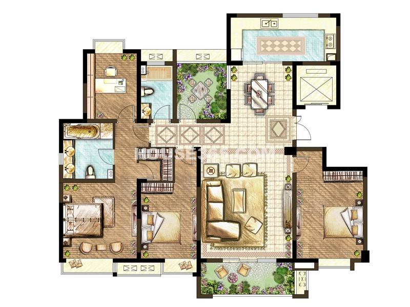 59#60#楼E户型-四室两厅一厨两卫+空中花园