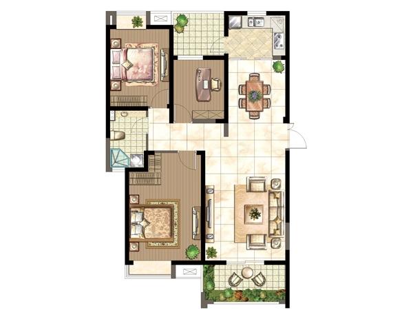 J户型-三室两厅一厨一卫