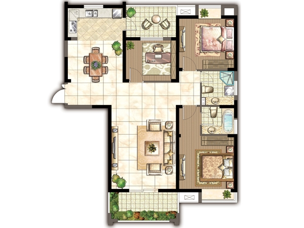 H户型-三室两厅一厨两卫