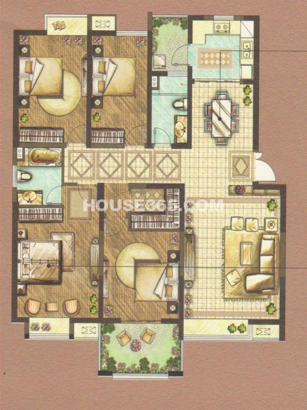 C户型-四室两厅一厨两卫